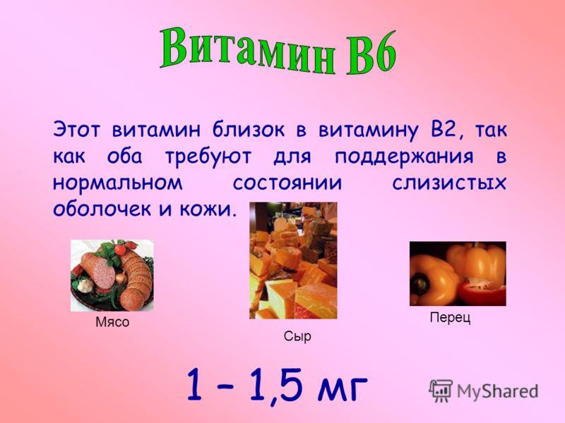 Этот витамин близок в витамину В2, так как оба требуют для поддержания в нормальном состоянии слизистых оболочек и кожи. Мясо Сыр Перец 1 – 1,5 мг