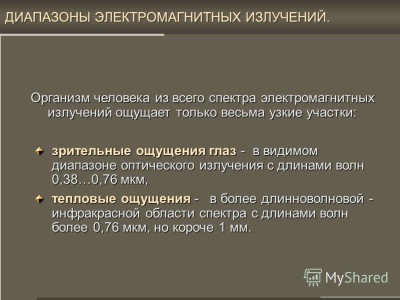 16 ДИАПАЗОНЫ ЭЛЕКТРОМАГНИТНЫХ ИЗЛУЧЕНИЙ. Гамма, рентген Радио диапазон Радио диапазон КВЧ поддиапазон миллиметровых волн – ММВ ( = 1…10 мм), сантиметровый,метровый, коротко-, среде- и длинноволновый УФ диапазон УФ диапазон вакуумный УФ, ближний УФ, с