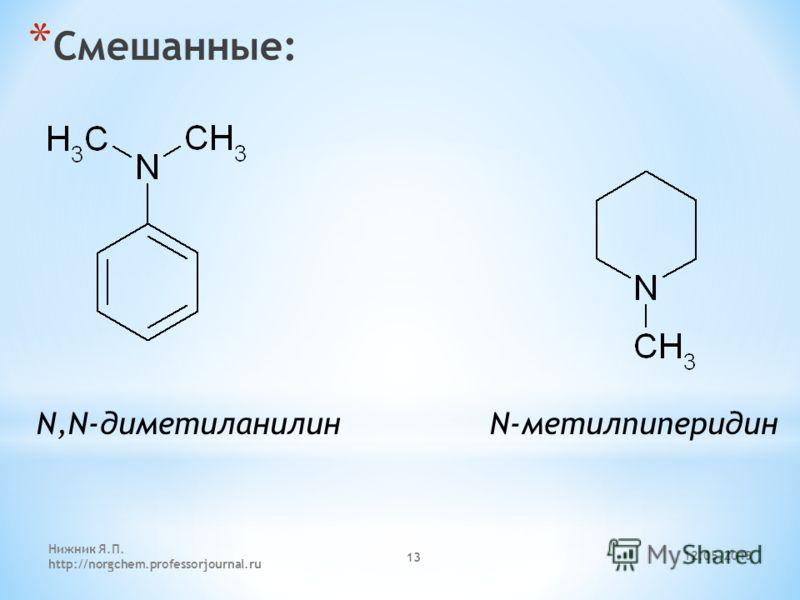 12.05.2013 Нижник Я.П. http://norgchem.professorjournal.ru 13 * Смешанные: N,N-диметиланилин N-метилпиперидин