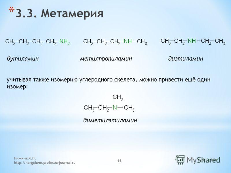 12.05.2013 Нижник Я.П. http://norgchem.professorjournal.ru 16 * 3.3. Метамерия бутиламин метилпропиламин диэтиламин диметилэтиламин учитывая также изомерию углеродного скелета, можно привести ещё один изомер: