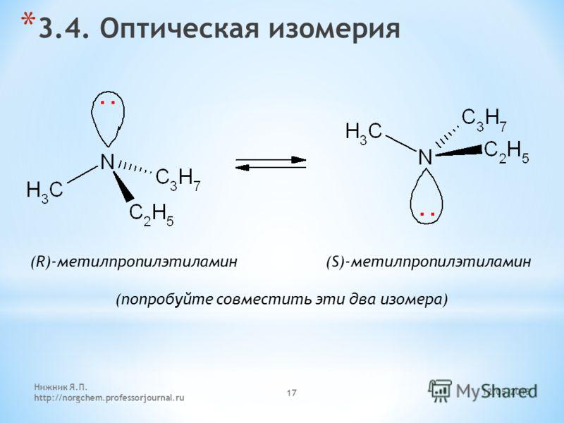 12.05.2013 Нижник Я.П. http://norgchem.professorjournal.ru 17 * 3.4. Оптическая изомерия (R)-метилпропилэтиламин (S)-метилпропилэтиламин (попробуйте совместить эти два изомера)