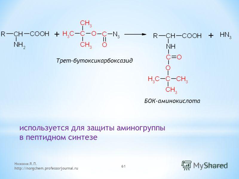 12.05.2013 Нижник Я.П. http://norgchem.professorjournal.ru 61 БОК-аминокислота Трет-бутоксикарбоксазид используется для защиты аминогруппы в пептидном синтезе