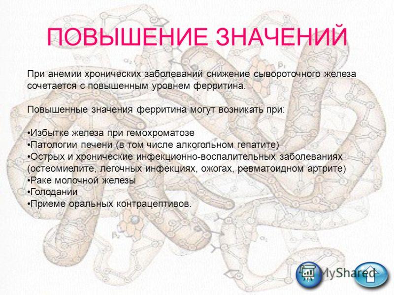 ПОВЫШЕНИЕ ЗНАЧЕНИЙ При анемии хронических заболеваний снижение сывороточного железа сочетается с повышенным уровнем ферритина. Повышенные значения ферритина могут возникать при: Избытке железа при гемохроматозе Патологии печени (в том числе алкогольн