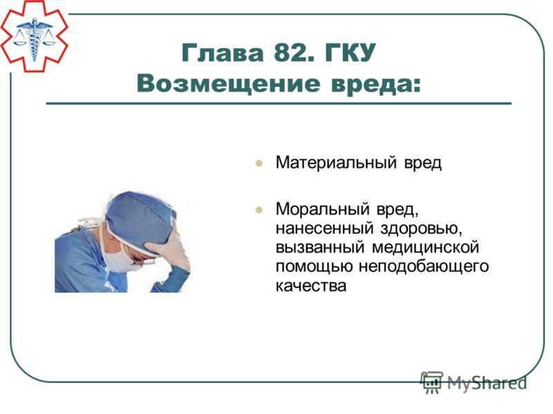 Глава 82. ГКУ Возмещение вреда: Материальный вред Моральный вред, нанесенный здоровью, вызванный медицинской помощью неподобающего качества