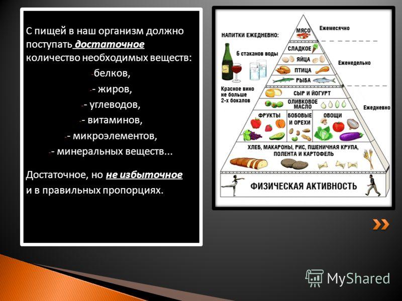 С пищей в наш организм должно поступать достаточное количество необходимых веществ: - белков, - - жиров, - - углеводов, - - витаминов, - - микроэлементов, - - минеральных веществ... Достаточное, но не избыточное и в правильных пропорциях.