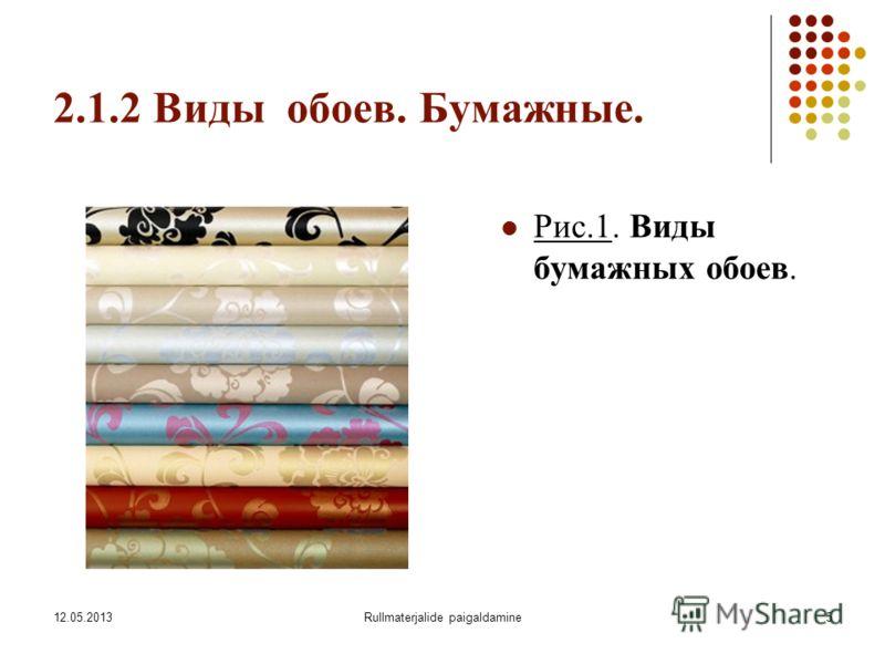 12.05.2013Rullmaterjalide paigaldamine5 2.1.2 Виды обоев. Бумажные. Рис.1. Виды бумажных обоев.