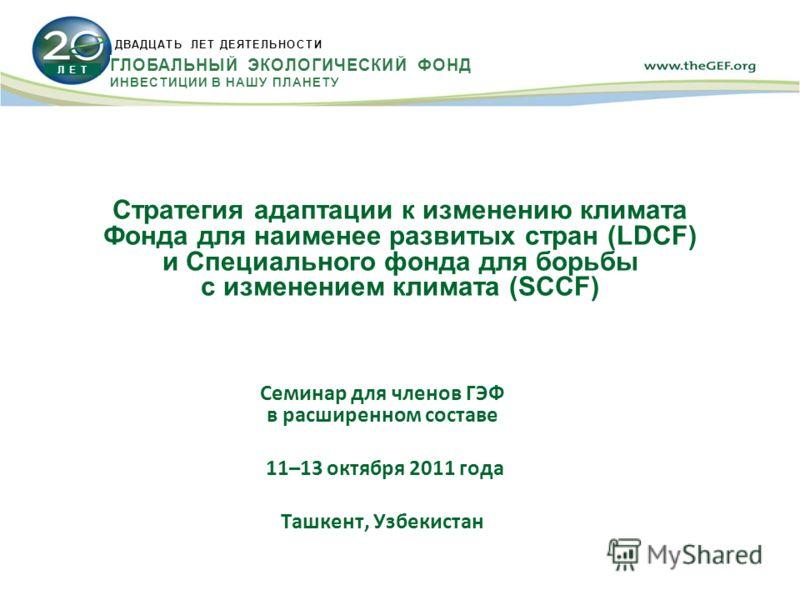 Стратегия адаптации к изменению климата Фонда для наименее развитых стран (LDCF) и Специального фонда для борьбы с изменением климата (SCCF) Семинар для членов ГЭФ в расширенном составе 11–13 октября 2011 года Ташкент, Узбекистан Л Е Т ДВАДЦАТЬ ЛЕТ Д