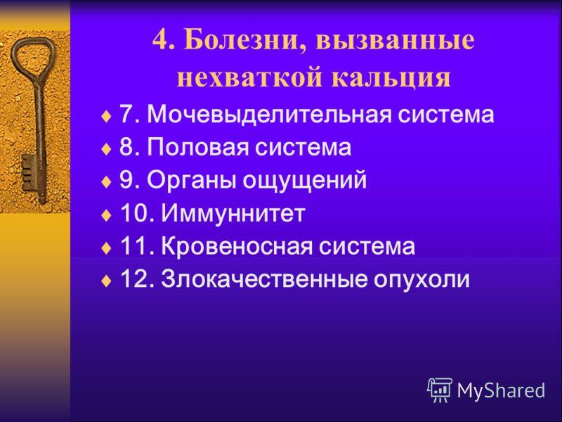 4. Болезни, вызванные нехваткой кальция 7. Мочевыделительная система 8. Половая система 9. Органы ощущений 10. Иммуннитет 11. Кровеносная система 12. Злокачественные опухоли