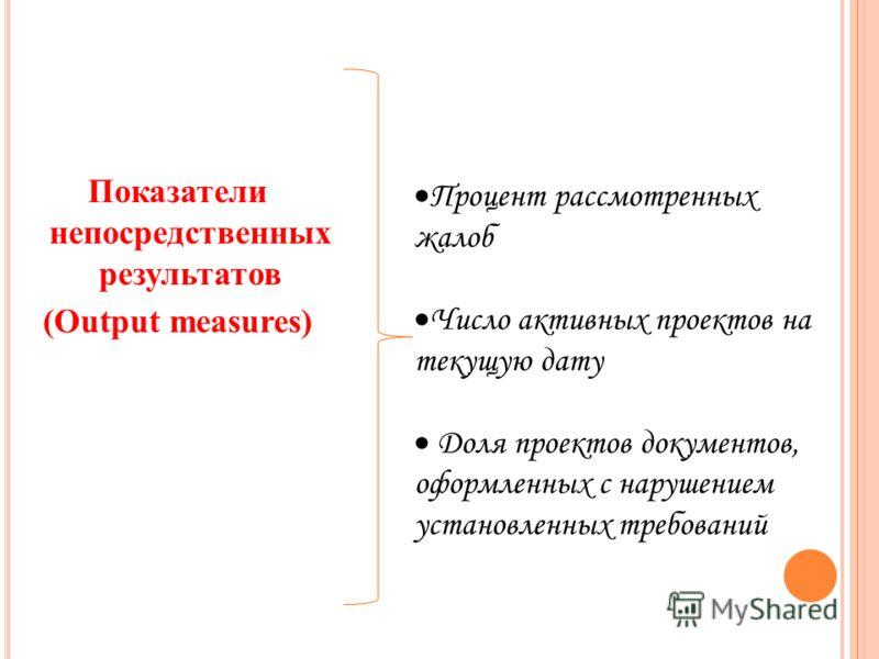 Показатели непосредственных результатов (Output measures) Процент рассмотренных жалоб Число активных проектов на текущую дату Доля проектов документов, оформленных с нарушением установленных требований