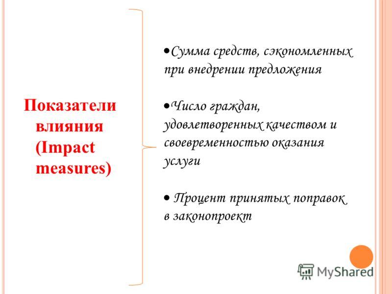 Показатели влияния (Impact measures) Сумма средств, сэкономленных при внедрении предложения Число граждан, удовлетворенных качеством и своевременностью оказания услуги Процент принятых поправок в законопроект