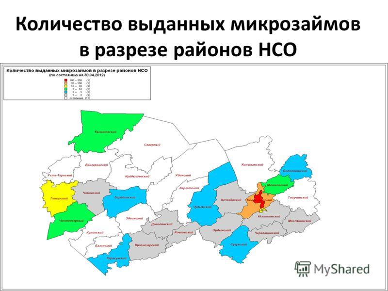 Количество выданных микрозаймов в разрезе районов НСО