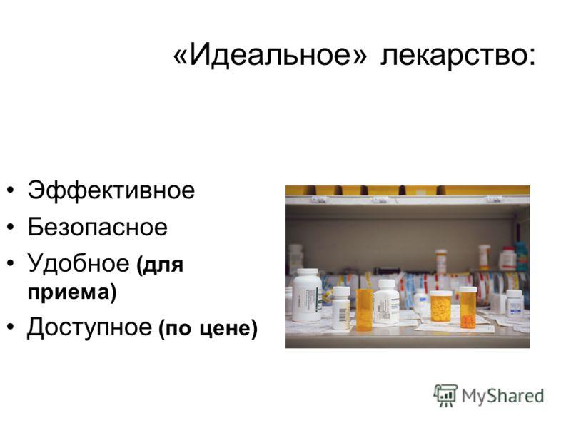 «Идеальное» лекарство: Эффективное Безопасное Удобное (для приема) Доступное (по цене)
