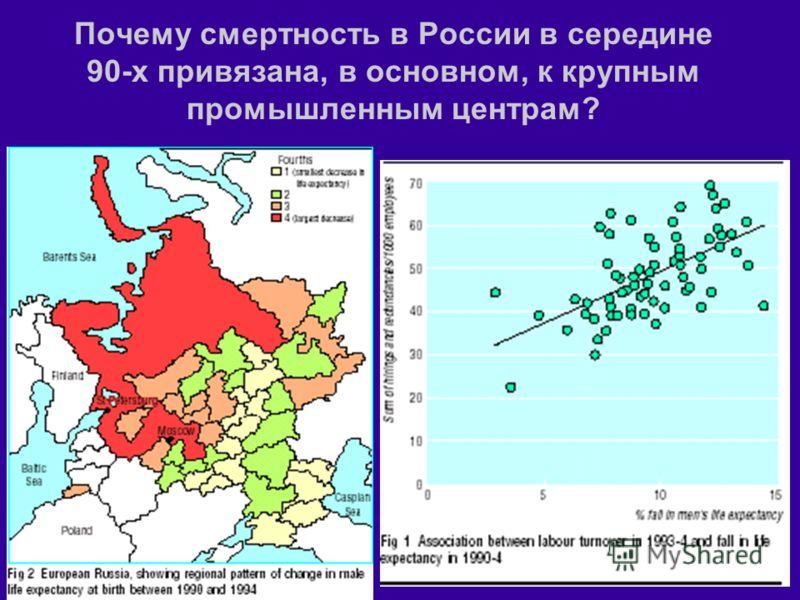 Почему смертность в России в середине 90-х привязана, в основном, к крупным промышленным центрам?