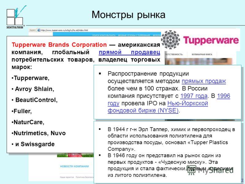 www.intalev.com Монстры рынка Tupperware Brands Corporation американская компания, глобальный прямой продавец потребительских товаров, владелец торговых марок:прямой продавец Tupperware, Avroy Shlain, BeautiControl, Fuller, NaturCare, Nutrimetics, Nu