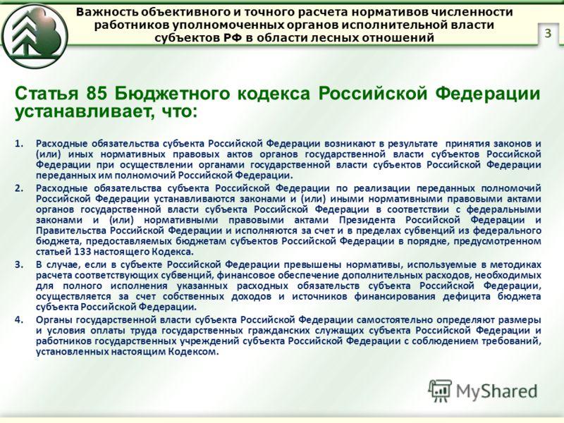 Статья 85 Бюджетного кодекса Российской Федерации устанавливает, что: 1.Расходные обязательства субъекта Российской Федерации возникают в результате принятия законов и (или) иных нормативных правовых актов органов государственной власти субъектов Рос