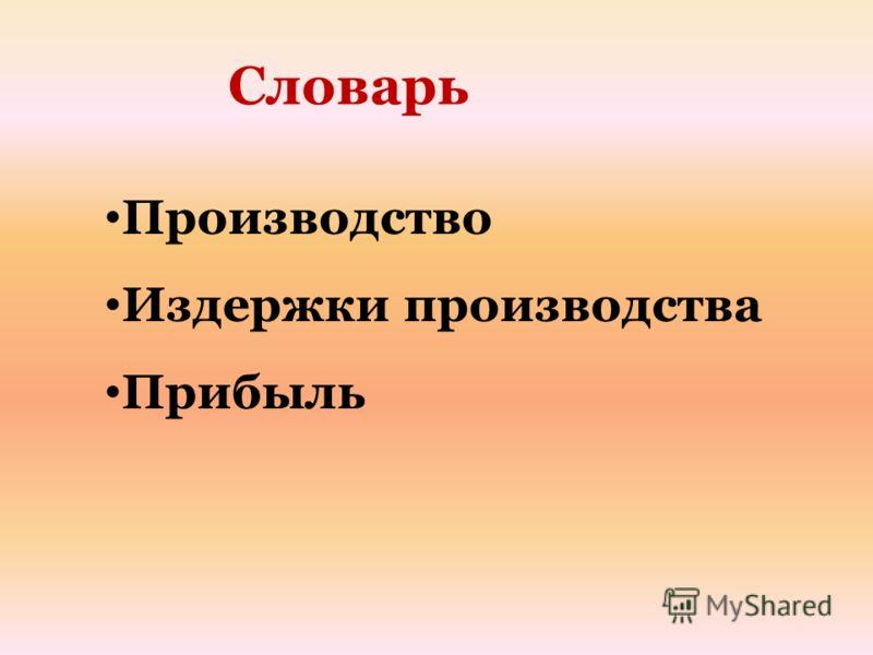 Производство Издержки производства Прибыль Словарь