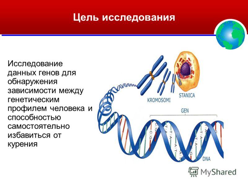 Цель исследования Исследование данных генов для обнаружения зависимости между генетическим профилем человека и способностью самостоятельно избавиться от курения