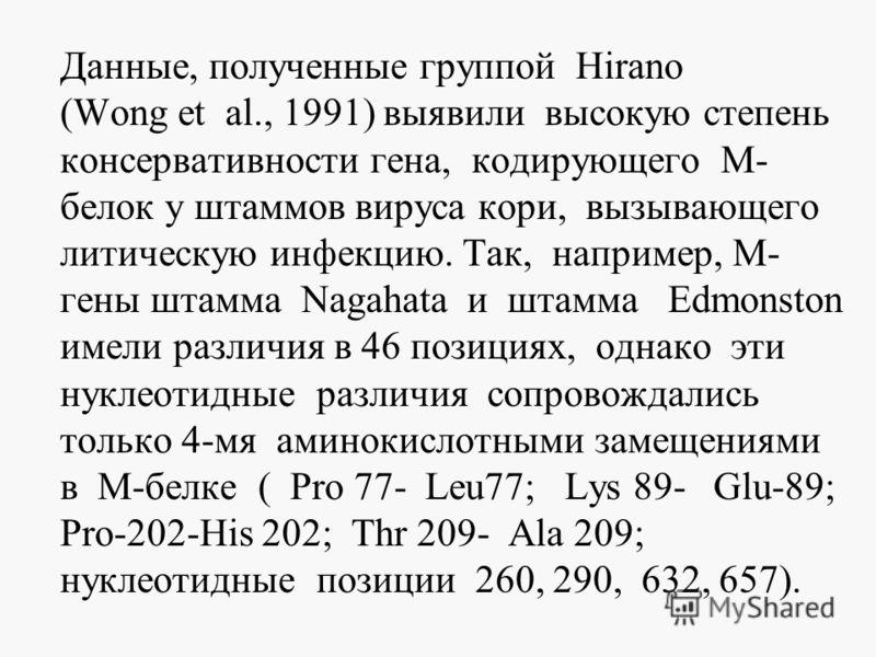 Данные, полученные группой Hirano (Wong et al., 1991) выявили высокую степень консервативности гена, кодирующего М- белок у штаммов вируса кори, вызывающего литическую инфекцию. Так, например, М- гены штамма Nagahata и штамма Edmonston имели различия