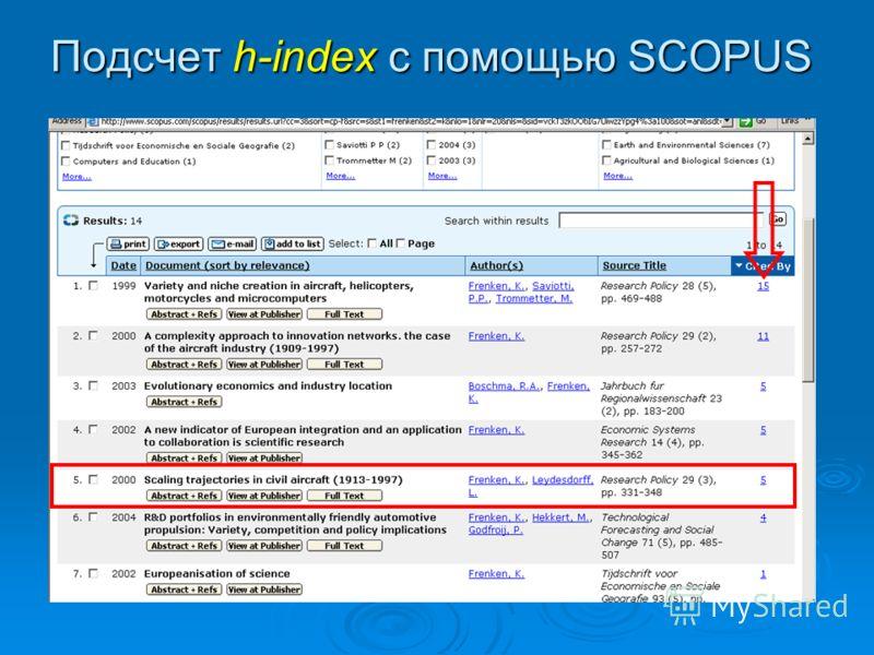 Подсчет h-index с помощью SCOPUS