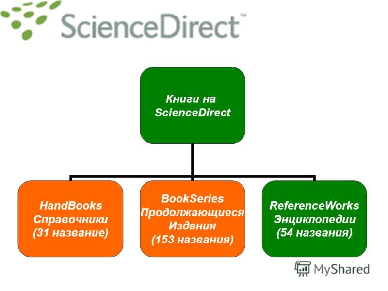 Книги на ScienceDirect HandBooks Справочники (31 название) BookSeries Продолжающиеся Издания (153 названия) ReferenceWorks Энциклопедии (54 названия)