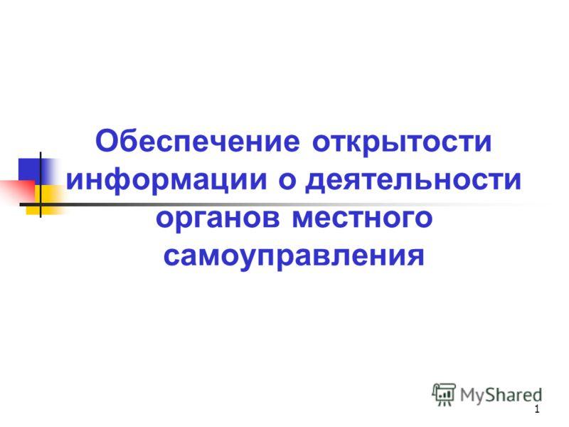 1 Обеспечение открытости информации о деятельности органов местного самоуправления