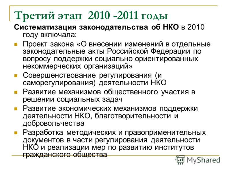 Третий этап 2010 -2011 годы Систематизация законодательства об НКО в 2010 году включала: Проект закона «О внесении изменений в отдельные законодательные акты Российской Федерации по вопросу поддержки социально ориентированных некоммерческих организац