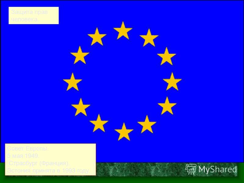 Совет Европы. 5 мая 1949. Страсбург (Франция). Эстония принята в 1993 году. Защита прав человека.