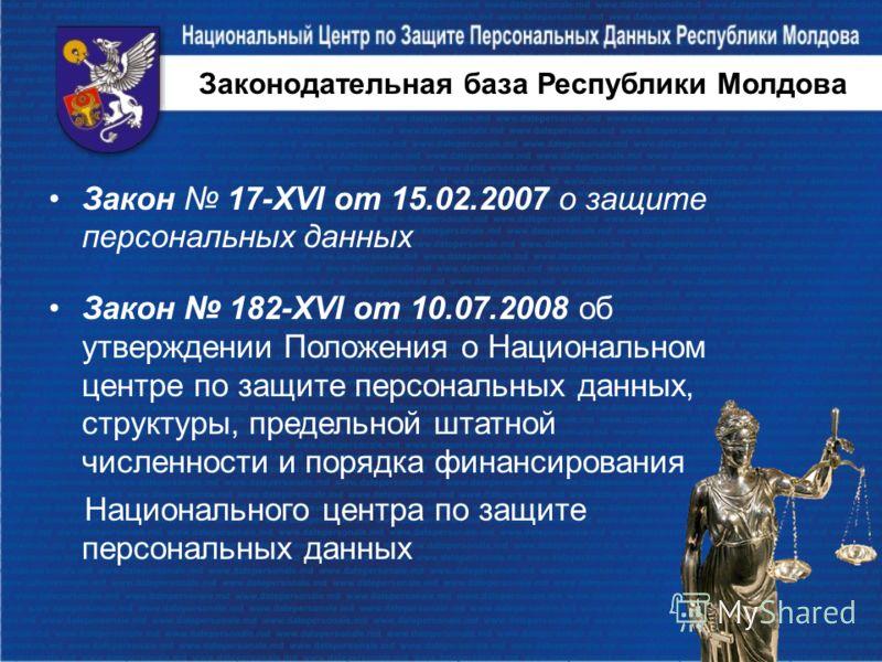 Законодательная база Республики Молдова Закон 17-XVI от 15.02.2007 о защите персональных данных Закон 182-XVI от 10.07.2008 об утверждении Положения о Национальном центре по защите персональных данных, структуры, предельной штатной численности и поря