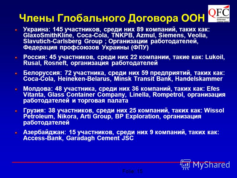 Folie: 15 Члены Глобального Договора ООН Украина: 145 участников, среди них 89 компаний, таких как: GlaxoSmithKline, Coca-Cola, TNKPB, Azmul, Siemens, Veolia, Slavutich-Carlsberg Group ; Организации работодателей, Федерация профсоюзов Украины (ФПУ) Р