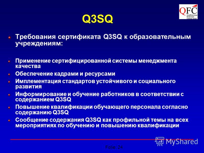 Folie: 24 Q3SQ Требования сертификата Q3SQ к образовательным учреждениям: Применение сертифицированной системы менеджмента качества Обеспечение кадрами и ресурсами Имплементация стандартов устойчивого и социального развития Информирование и обучение