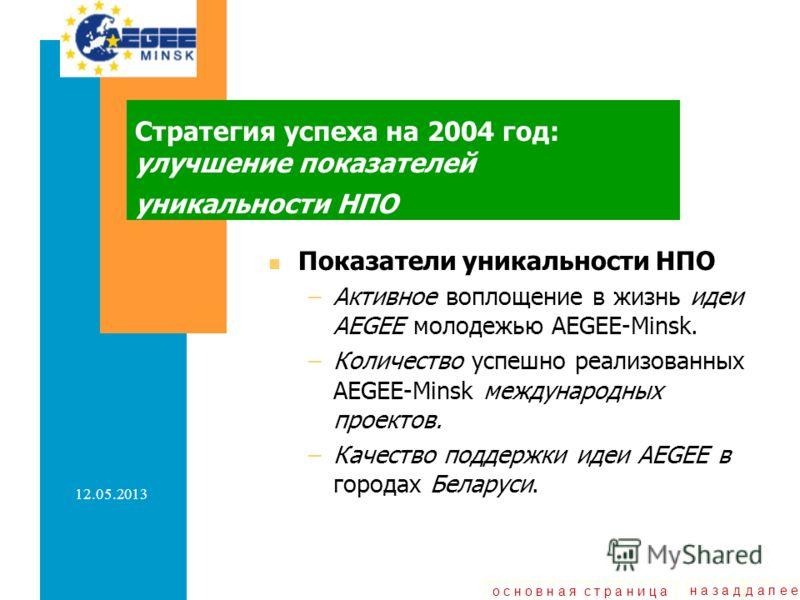 н а з а дд а л е е о с н о в н а я с т р а н и ц а 12.05.2013 Тема доклада Эффективность деятельности AEGEE-Minsk: стратегия успеха