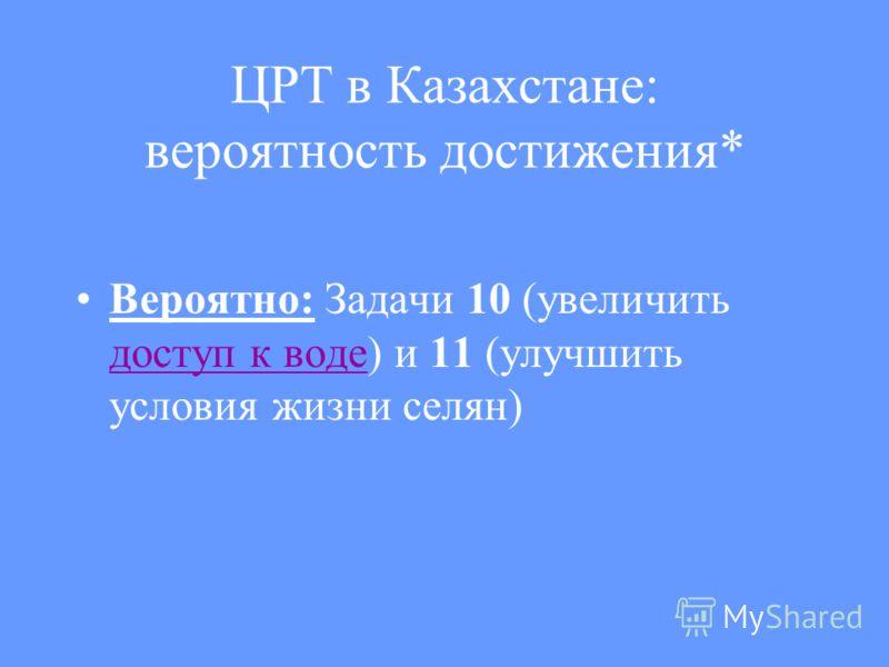 ЦРТ в Казахстане: вероятность достижения* Вероятно: Задачи 10 (увеличить доступ к воде) и 11 (улучшить условия жизни селян) доступ к воде