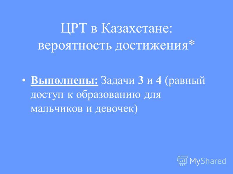 ЦРТ в Казахстане: вероятность достижения* Выполнены: Задачи 3 и 4 (равный доступ к образованию для мальчиков и девочек)