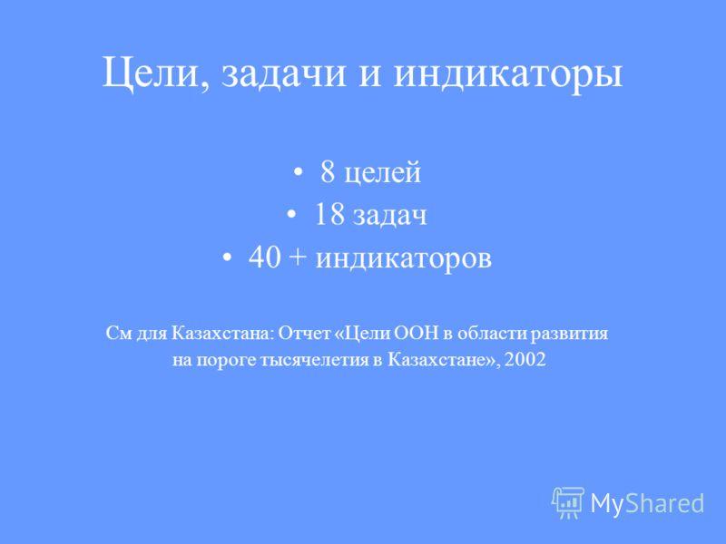 Цели, задачи и индикаторы 8 целей 18 задач 40 + индикаторов См для Казахстана: Отчет «Цели ООН в области развития на пороге тысячелетия в Казахстане», 2002