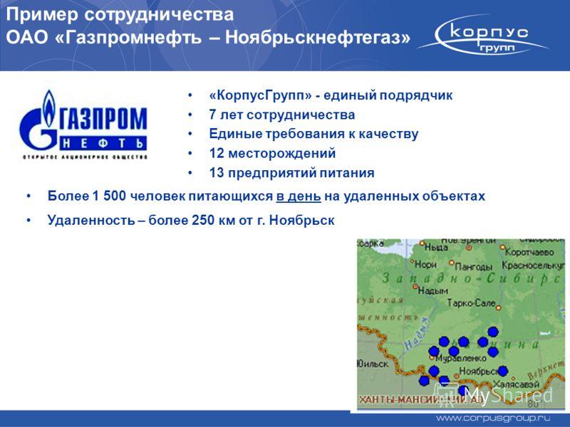 Пример сотрудничества ОАО «Газпромнефть – Ноябрьскнефтегаз» «КорпусГрупп» - единый подрядчик 7 лет сотрудничества Единые требования к качеству 12 месторождений 13 предприятий питания Более 1 500 человек питающихся в день на удаленных объектах Удаленн