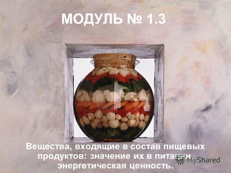 МОДУЛЬ 1.3 Вещества, входящие в состав пищевых продуктов: значение их в питании, энергетическая ценность.