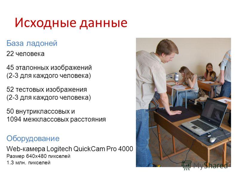 Исходные данные База ладоней 22 человека 45 эталонных изображений (2-3 для каждого человека) 52 тестовых изображения (2-3 для каждого человека) 50 внутриклассовых и 1094 межклассовых расстояния Оборудование Web-камера Logitech QuickCam Pro 4000 Разме