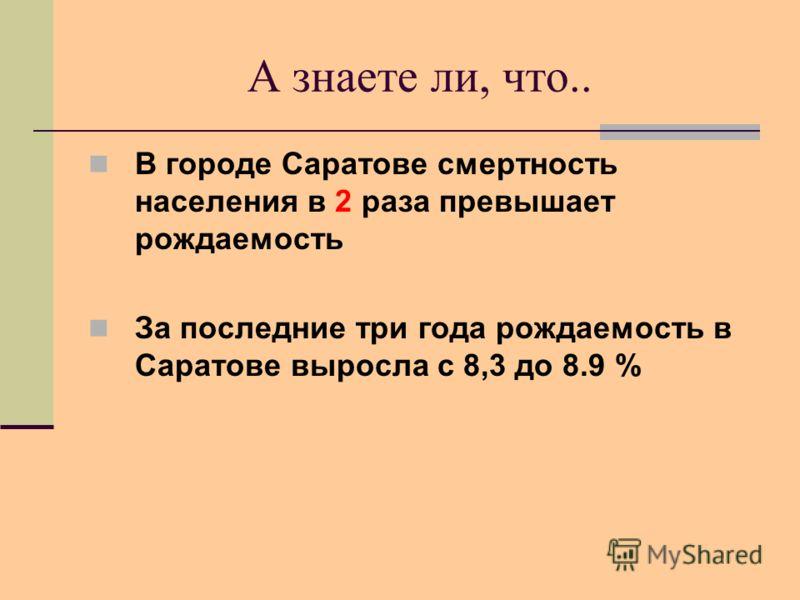 А знаете ли, что.. В городе Саратове смертность населения в 2 раза превышает рождаемость За последние три года рождаемость в Саратове выросла с 8,3 до 8.9 %