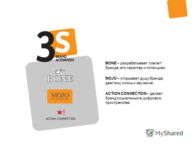 BONE – разрабатывает скелет бренда, его характер и потенциал. MOJO – открывает душу бренда, дает ему жизнь и звучание. ACTION CONNECTION – делает бренд социальным в цифровом пространстве.