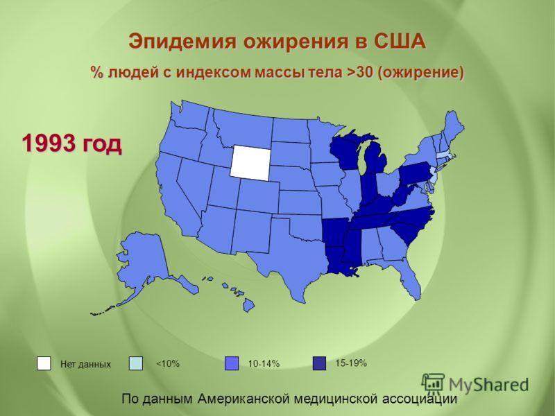По данным Американской медицинской ассоциации Нет данных 30 (ожирение) 1993 год