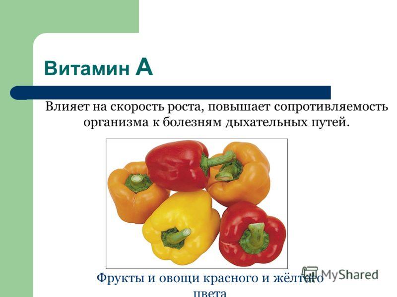 Витамин А Влияет на скорость роста, повышает сопротивляемость организма к болезням дыхательных путей. Фрукты и овощи красного и жёлтого цвета