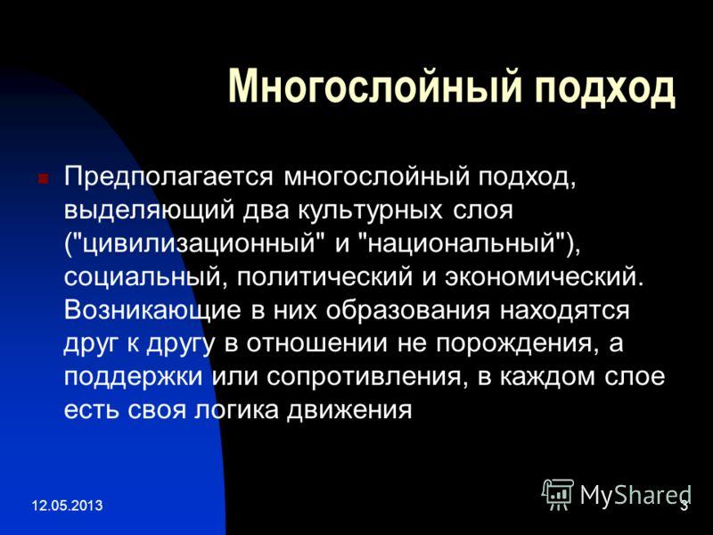 12.05.20133 Многослойный подход Предполагается многослойный подход, выделяющий два культурных слоя (