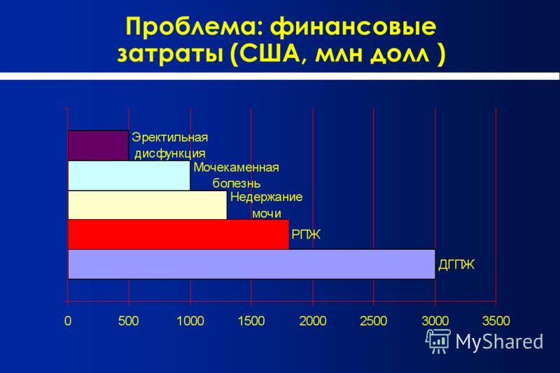 Проблема: финансовые затраты (США, млн долл )
