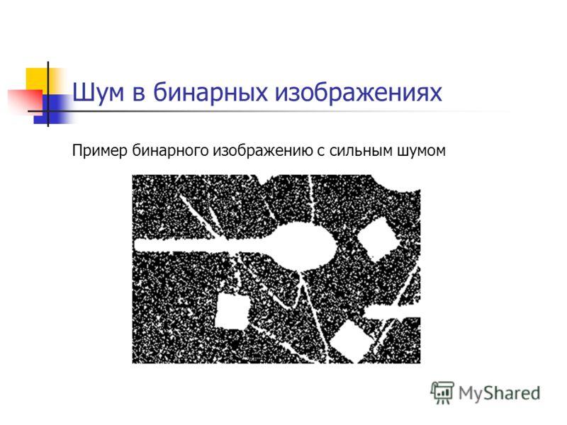 Шум в бинарных изображениях Пример бинарного изображению с сильным шумом