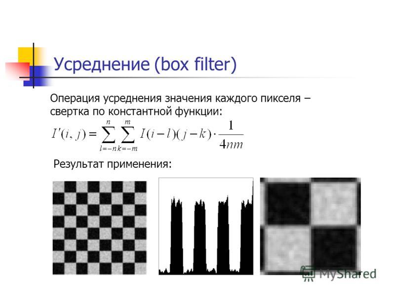 Усреднение (box filter) Операция усреднения значения каждого пикселя – cвертка по константной функции: Результат применения: