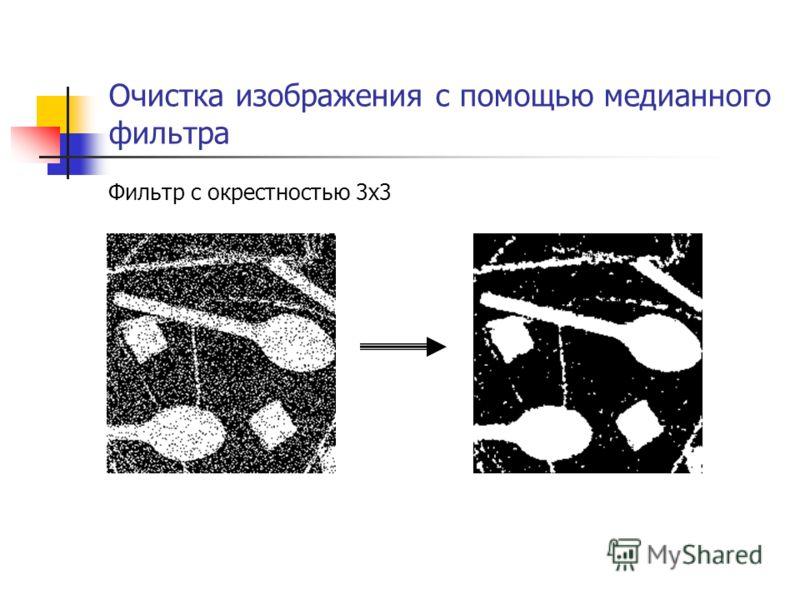 Очистка изображения с помощью медианного фильтра Фильтр с окрестностью 3x3