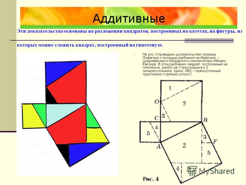 Доказательство Гарфилда На рисунке три прямоугольных треугольника составляют трапецию. Поэтому площадь этой фигуры можно находить по формуле площади прямоугольной трапеции, либо как сумму площадей трех треугольников. В первом случае эта площадь равна