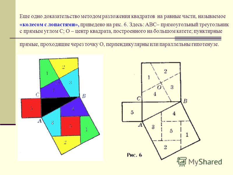 На основе доказательства ан-Найризия выполнено и другое разложение квадратов на попарно равные фигуры (рис. 5, здесь ABC – прямоугольный треугольник с прямым углом C).