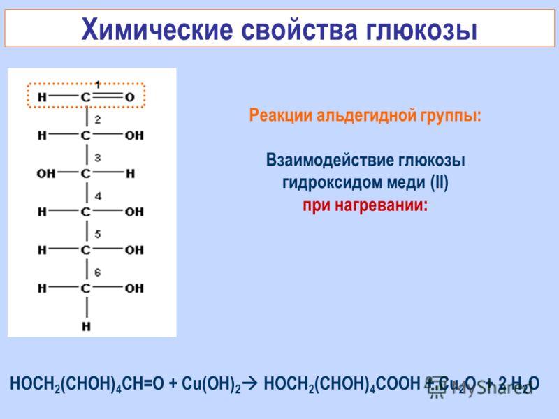 Реакции альдегидной группы: Взаимодействие глюкозы гидроксидом меди (II) при нагревании: Химические свойства глюкозы НОСН 2 (СНОН) 4 СН=О + Cu(OH) 2 НОСН 2 (СНОН) 4 СOОН + Cu 2 O + 2 H 2 O