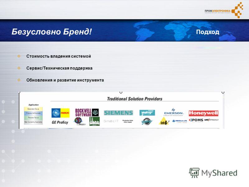 Стоимость владения системой Сервис/Техническая поддержка Обновления и развитие инструмента Безусловно Бренд! Подход
